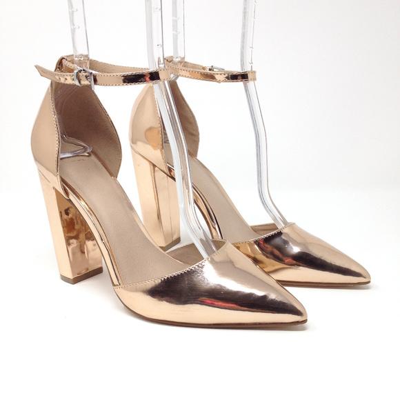 54e635a67723 ASOS Shoes - Asos Rose Gold Chrome Ankle Strap Dorsay Heels 6